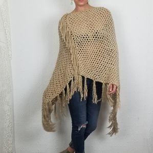 Camel Hand Knit Long Tassle Fringe Boho Poncho